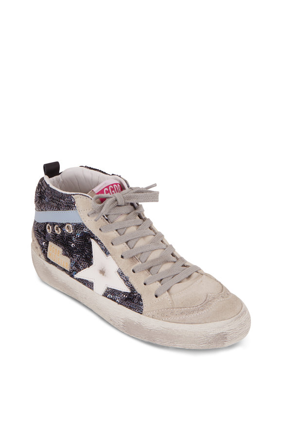 Golden Goose Mid-Star Blue Paillettes White Star Sneaker