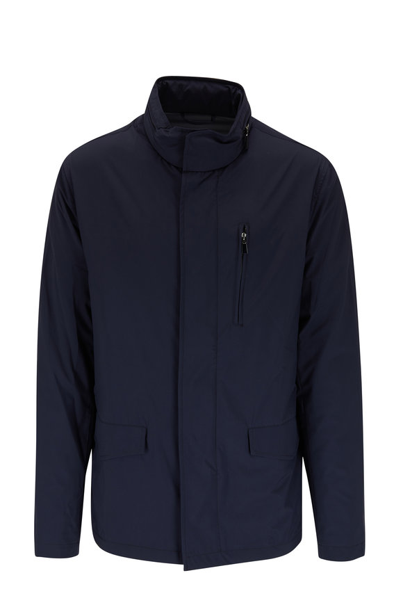 Manto Navy Packable Hooded Raincoat
