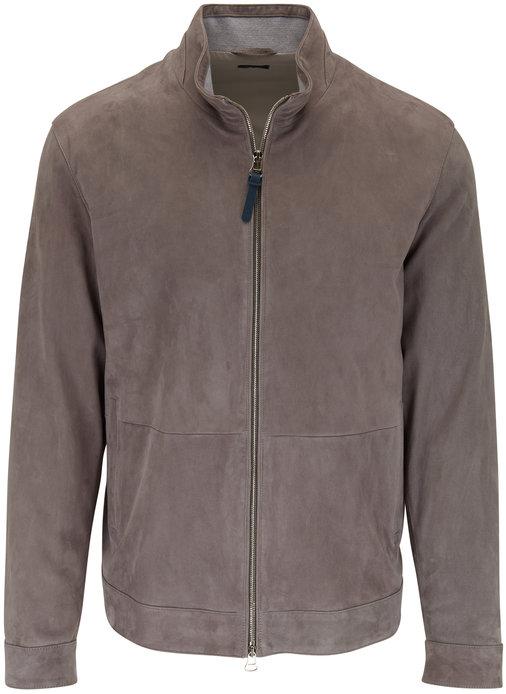 Peter Millar Gray Stretch Suede Front Zip Jacket