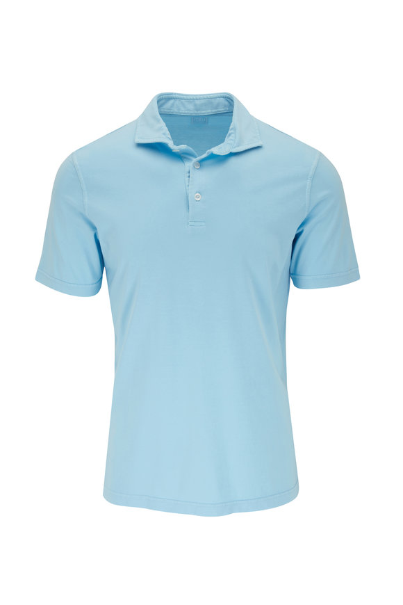 Fedeli Blue Jersey Short Sleeve Polo