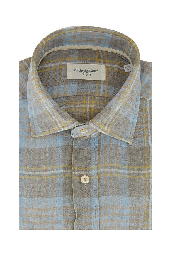 Tintoria Multi Plaid Linen Contemporary Fit Sport Shirt