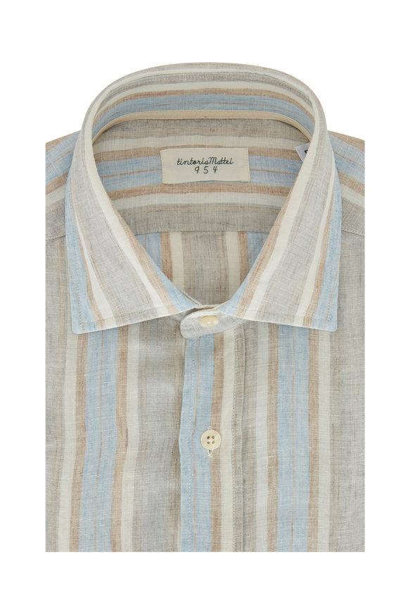 Tintoria Beige Multi Stripe Linen Contemporary Sport Shirt