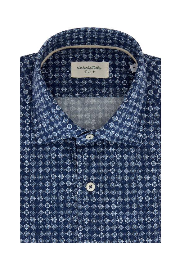 Tintoria Navy Blue Geometric Contemporary Fit Sport Shirt