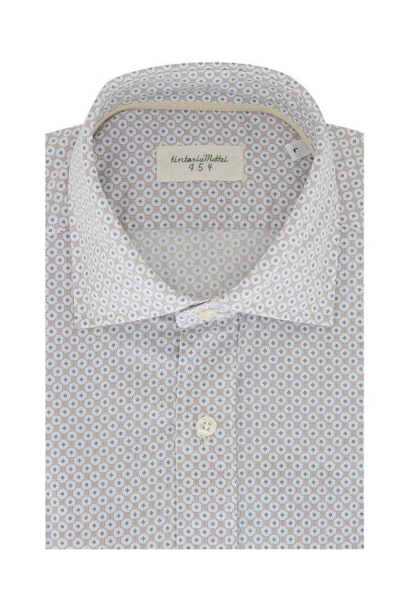 Tintoria  Tan Geometric Contemporary Fit Sport Shirt