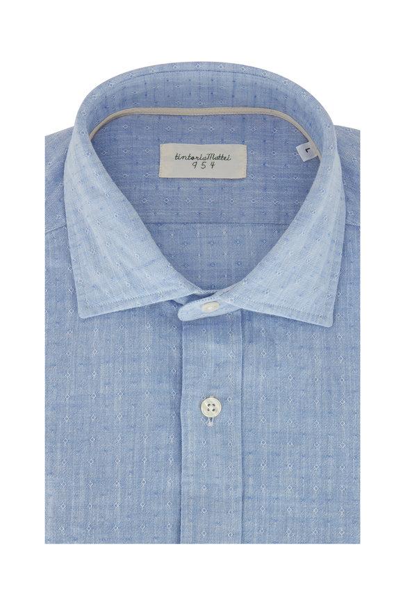 Tintoria Light Blue Tonal Dot Contemporary Fit Sport Shirt