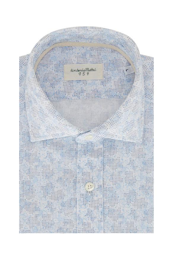 Tintoria Light Blue Floral Contemporary Fit Sport Shirt