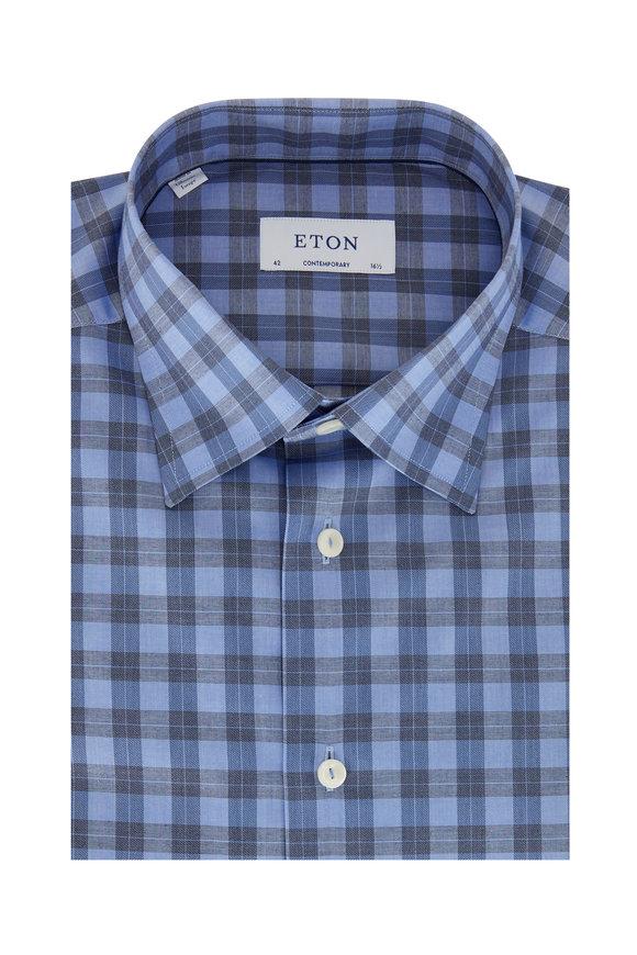 Eton Blue Tonal Plaid Contemporary Fit Dress Shirt