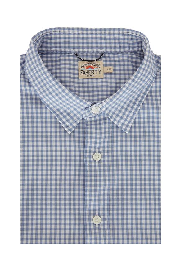 Faherty Brand Slate Blue Gingham Sport Shirt
