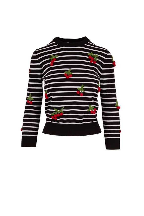 Michael Kors Collection Black & White Striped Embroidered Cherry Sweater