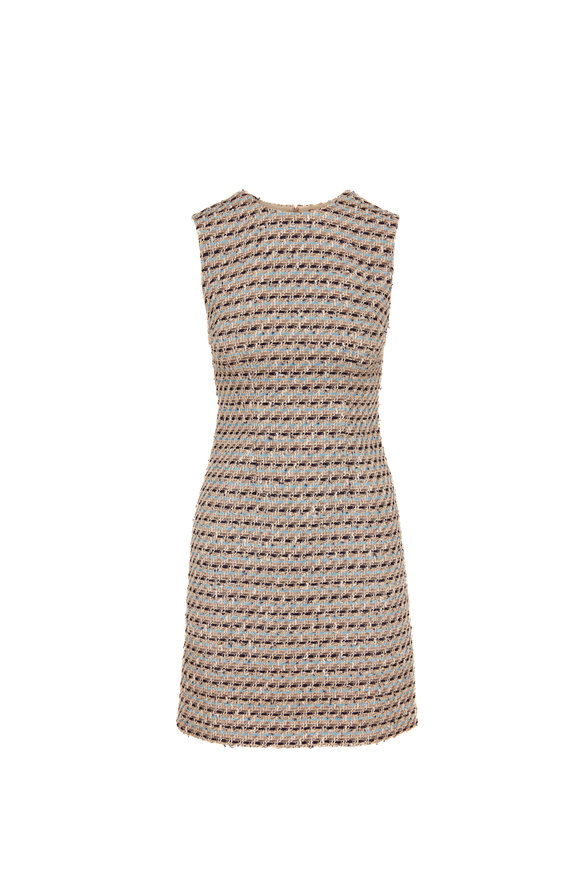 Adam Lippes Ivory Multi Tweed Sleeveless Sheath Dress