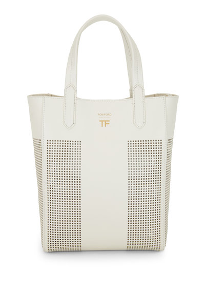 Tom Ford - Chalk Perforated Leather North South Tote