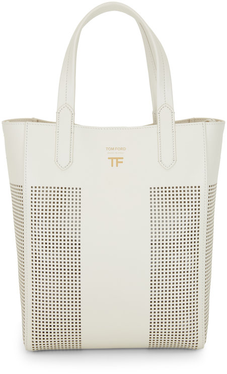 Tom Ford Chalk Perforated Leather North South Tote