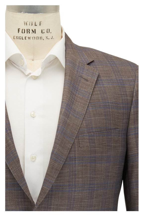 Samuelsohn Benett Light Brown & Blue Wool & Silk Sportcoat