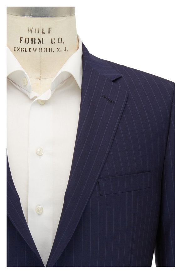 Samuelsohn Bennet Navy Striped Wool Suit