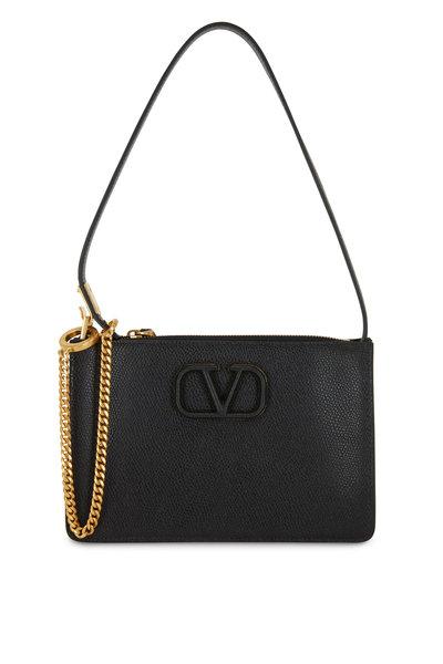 Valentino Garavani - V-Sling Black Grained Leather Small Pouch Bag