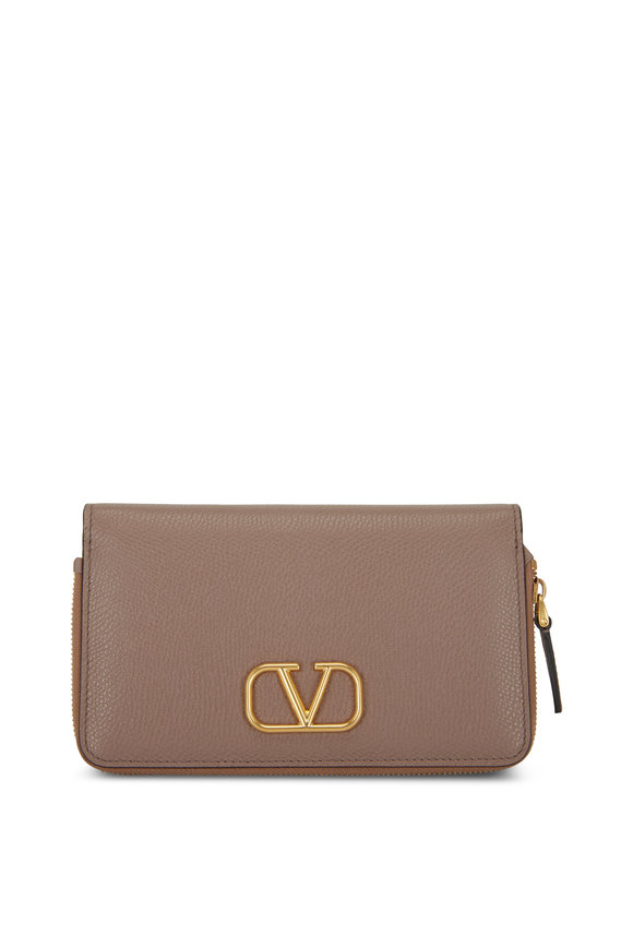 Valentino Garavani V-Logo Clay Grained Leather Smartphone Wallet