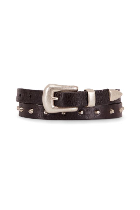 Golden Goose Fort Worth Black Leather Studded Belt