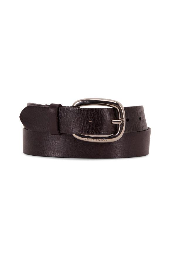 Golden Goose Houston Black Leather Belt