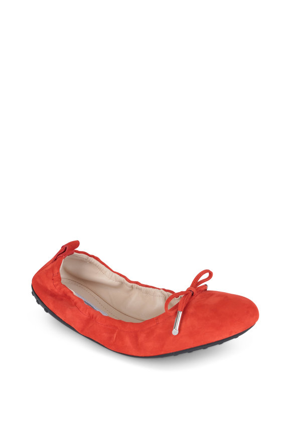 Tod's Red Suede Ballerina Flat