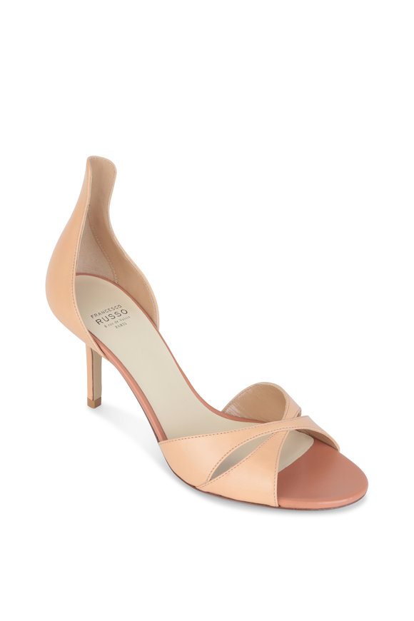 Francesco Russo  Nude Leather High Back Sandal, 75mm
