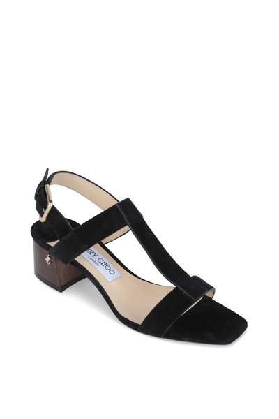 Jimmy Choo - Jin 45 Black Suede T-Strap Sandal, 45mm