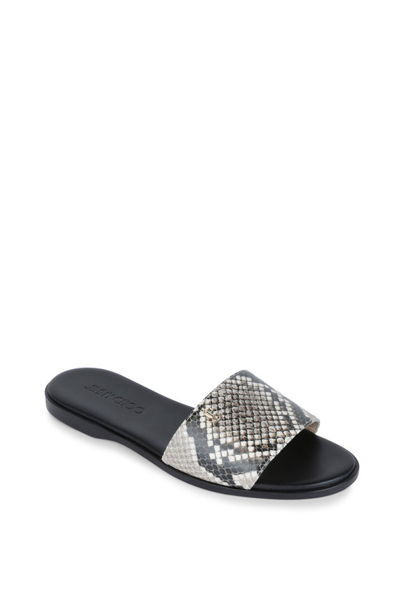 Jimmy Choo Minea Natural Snake Print Leather Slide