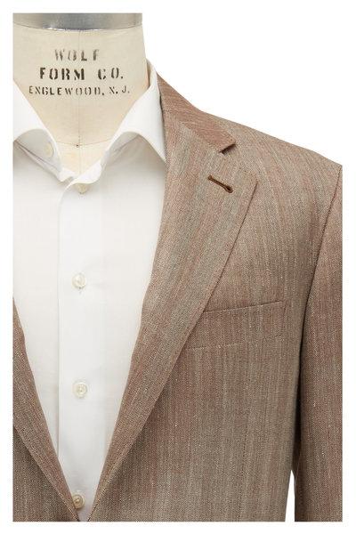 Canali - Kei Tan Herringbone Wool Blend Sportcoat
