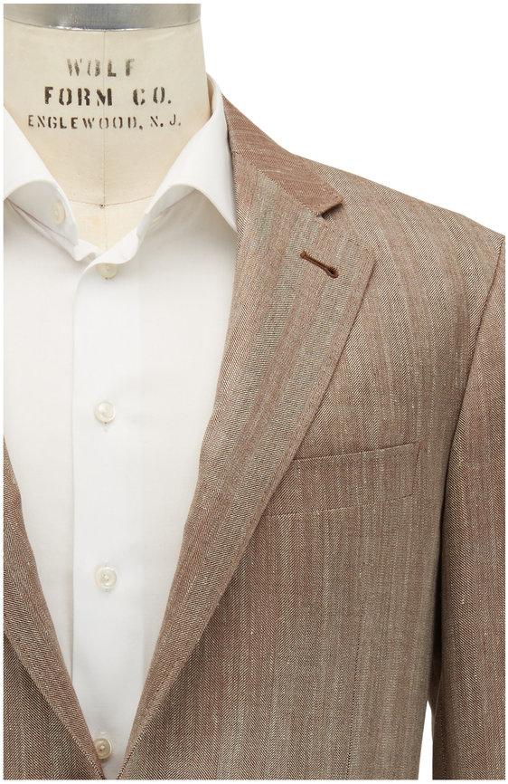 Canali Kei Tan Herringbone Wool Blend Sportcoat