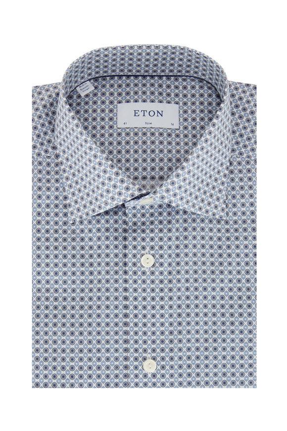 Eton Light Blue Geometric Slim Fit Dress Shirt