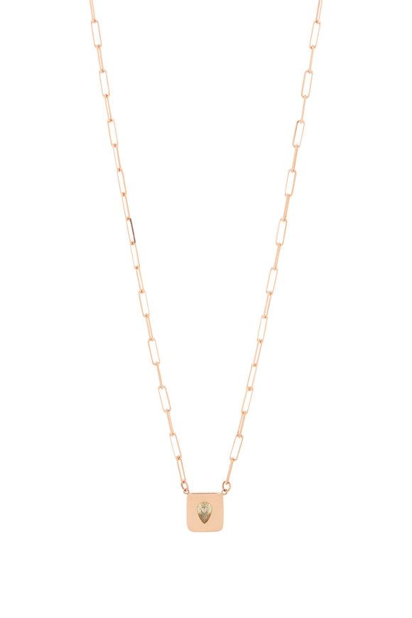 Genevieve Lau 14K Rose Gold Diamond Pendant Link Necklace