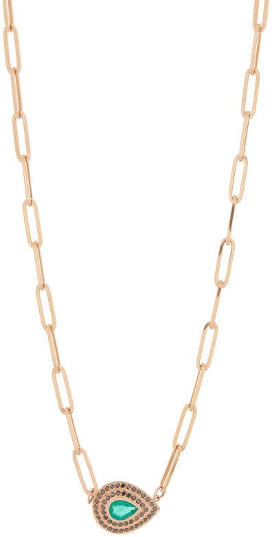 Genevieve Lau 14K Rose Gold Emerald Pendant Link Necklace