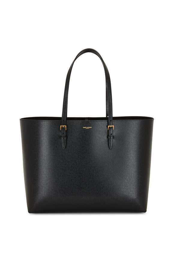 Saint Laurent Black Embossed Leather Large Shopping Bag
