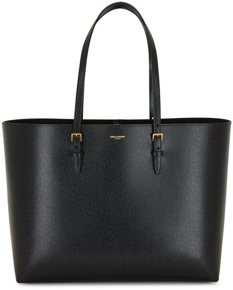 Saint Laurent Boucle Black Embossed Leather Large Shopping Bag
