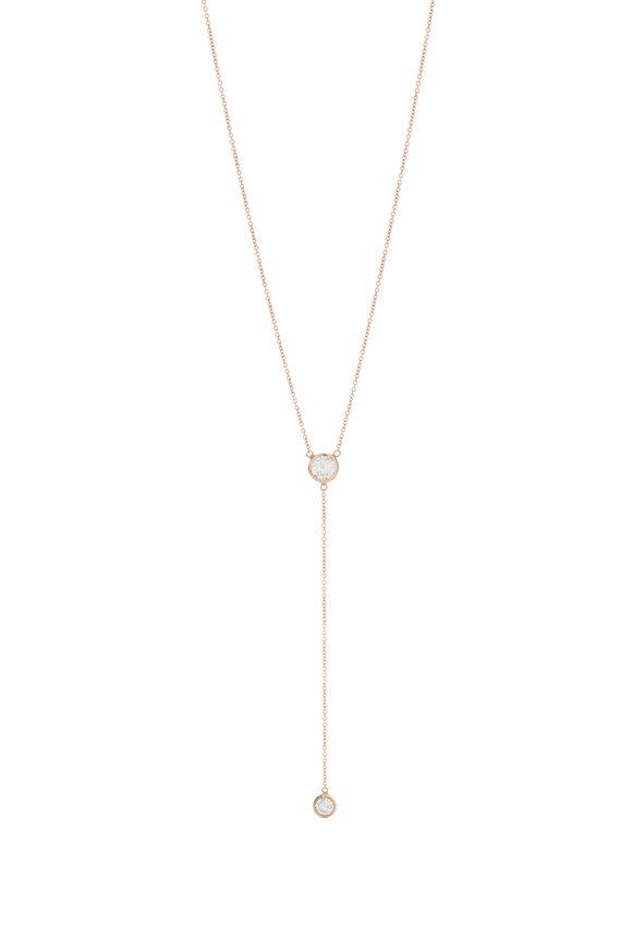 Genevieve Lau 14K Rose Gold Diamond Drop Necklace