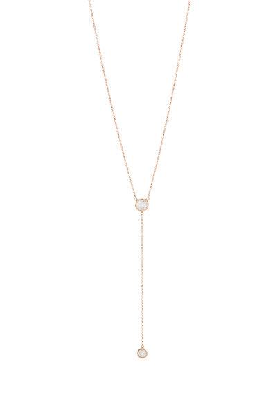 Genevieve Lau - 14K Rose Gold Diamond Drop Necklace