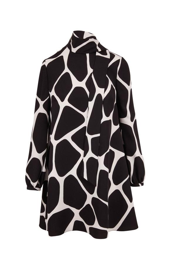 Valentino Black & White Silk Giraffe Print Tie-Neck Dress