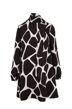 Valentino - Black & White Silk Giraffe Print Tie-Neck Dress