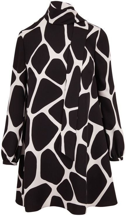 Valentino Black & White Silk Giraffe Print Tie-Neck Dress