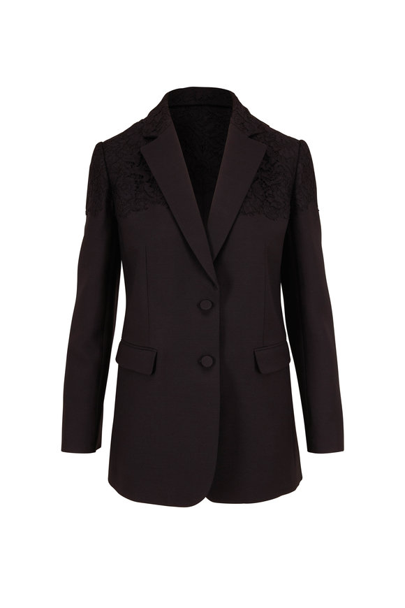 Valentino Black Crepe Couture Two Button Jacket