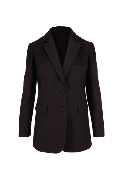 Valentino - Black Crepe Couture Two Button Jacket