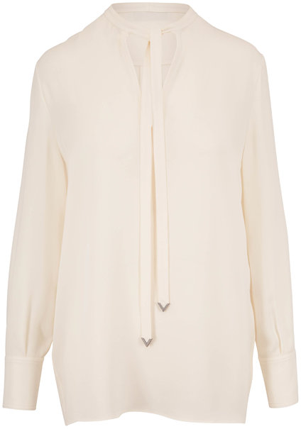 Valentino Ivory Silk Georgette Tie-Neck Blouse