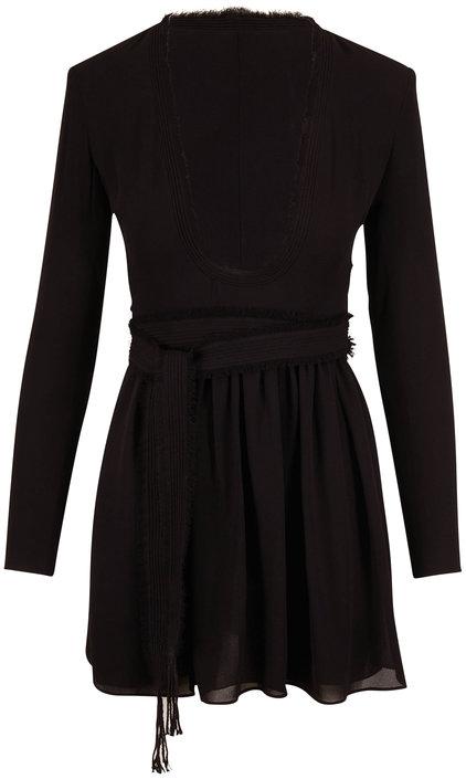 Saint Laurent Black Long Sleeve Tie Waist Mini Dress