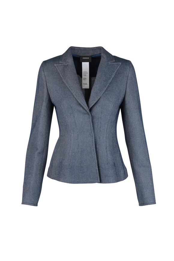 Akris Ink Blue Wool Blend Jacket