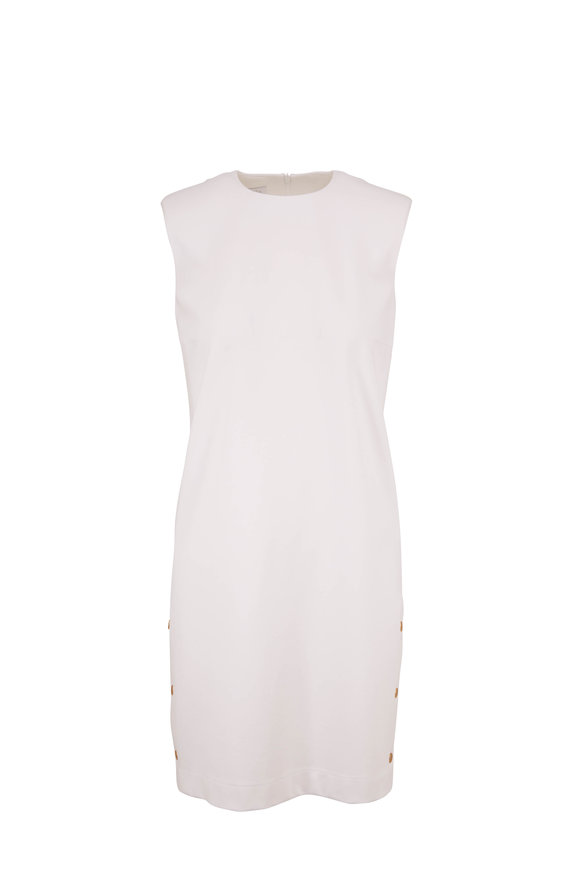 Escada Dukami White Side Snap Sleeveless Dress