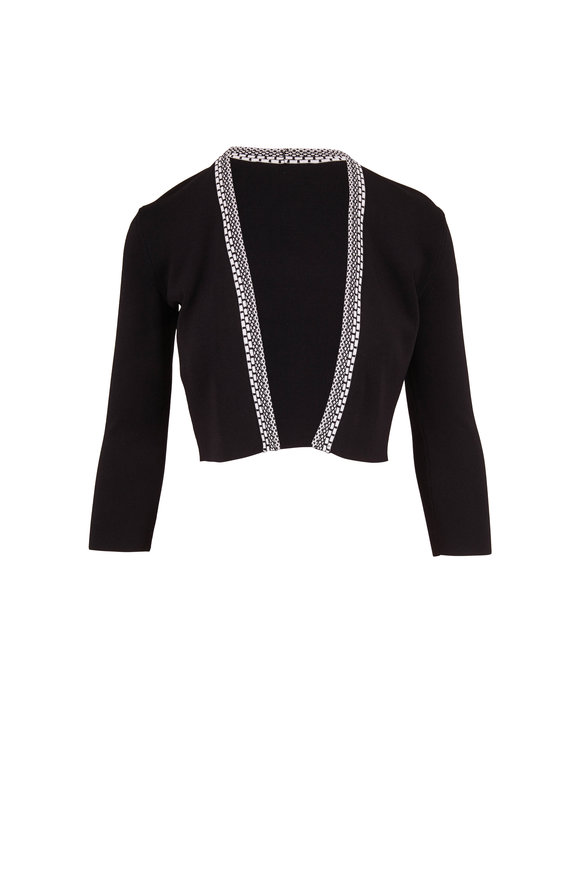 Paule Ka Black Knit Open Front Crop Cardigan