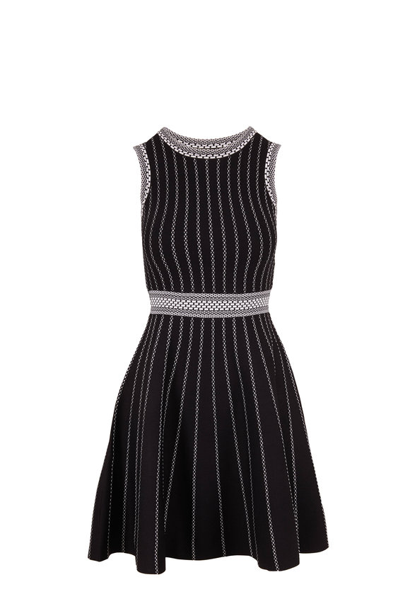 Paule Ka Black & White Sleeveless Knit Dress