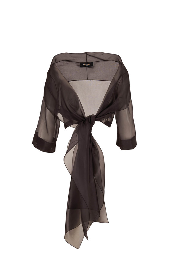 Paule Ka Black Organza Front Tie Cardigan