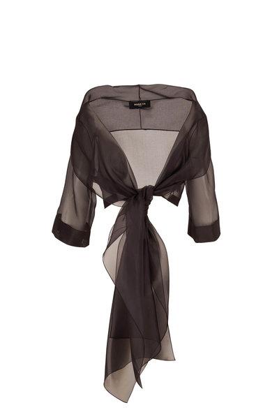 Paule Ka - Black Organza Front Tie Cardigan