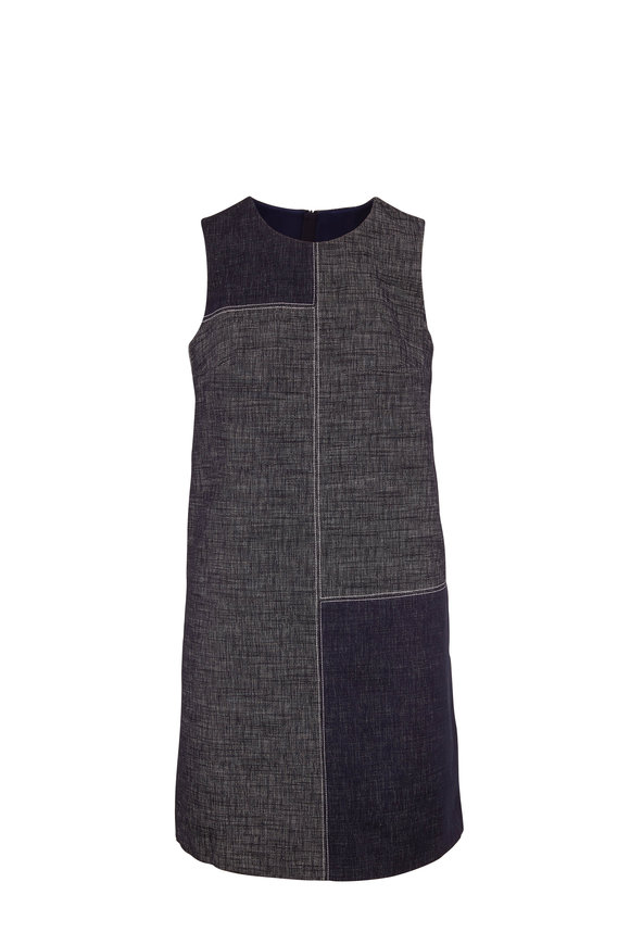 Paule Ka Marine Blue Denim Sleeveless Shift Dress