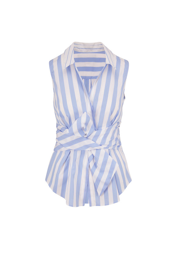 Paule Ka Light Blue Stripe Front Bow Sleeveless Blouse